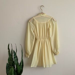 70's Buttercup Yellow Mini dress w high neck
